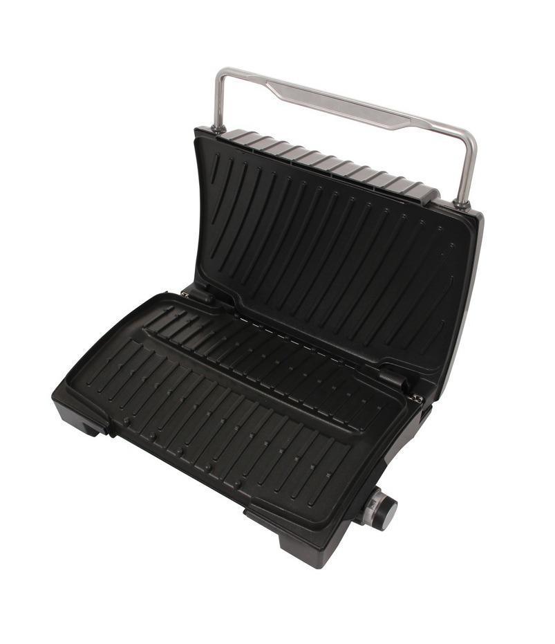 GFgril GF-090 Aroma электрогрильGF-090 AROMAКонтактный электрический гриль, со стойким антипригарным покрытием нагревательных панелей, позволяет поджаривать в домашних условиях стейки, овощи, рыбу и другие продукты без применения масла. Кроме того ребристая конструкция нагревательных панелей и их специальная закругленная форма, способствует удалению излишков жира из продуктов, с последующим сбором его в специальный контейнер.