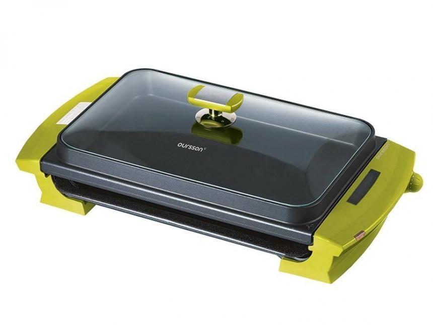 Oursson EG2000S, Green Apple электрогриль7640152891038Этот гриль станет предметом зависти родственников и друзей. Ведь в нем все продумано до мелочей. Термодатчик покажет Вам наилучший момент для начала приготовления, удобный поддон для стекания жира поможет избежать пересыхания продуктов и избавит от запаха гари. Две съемные формы позволят реализовать самые смелые кулинарные затеи. А чарующий аромат мяса или овощей на гриле быстро соберет всех за столом. Легко мыть, удобно пользоваться - мы и сами Вам уже завидуем.