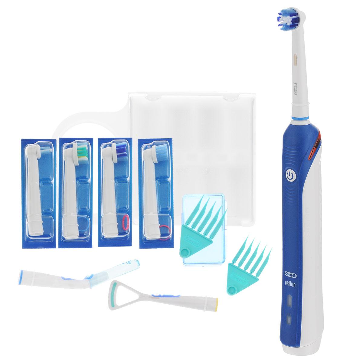 Oral-B Professional Care 3000 (D20.575.3) электрическая зубная щеткаD20.575.3Для достижения оптимальных результатов чистки, Oral-B Professional Care 3000 удаляет до 100% налета, больше, чем другие зубные щетки. Во время чистки щетка совершает 40000 пульсаций и 8800 возвратно-вращательных движений в минуту. Щетинки колеблются и тщательно окружают зубы, разрушая налет и удаляя его.3 простых в использовании режима чистки:Ежедневная чистка: для исключительный чистки зубов и десенБережная чистка: мягкое, но тщательное очищение зубов и чувствительных зонПолировка: полирует и возвращает натуральную белизну зубамИнновационная красная полоска света, встроенная в рукоятку щетки начинает мигать, подавая Вам видимый сигнал.Чтобы получить лучшие результаты: профессиональный таймер гарантирует, что вы осуществляете чистку нужное время (стоматологи рекомендуют 2 минуты). Короткий прерывающийся звук с 30-секундным интервалом, который вы можете услышать и почувствовать, напоминает Вам, о том что нужно чистить каждый квадрант полости рта одинаковое время, тщательно и последовательно. Длинный прерывающийся звук указывает, когда рекомендуемое время чистки закончилось.Насадка Precision Clean охватывает каждый зуб отдельно для снятия налета и удаления потемнений эмалиНасадка 3D White помогает бережно удалять потемнения эмали.Сменная насадка Sensitive помогает бережно чистить зубы и десна, при повышенной чувствительности зубов. Также содержит голубые щетинки Indicator, которые обесцвечиваясь, сигнализируют об износе щетины.Перезаряжаемый аккумулятор, заряда которого хватает на 7 дней (если использовать дважды в день).