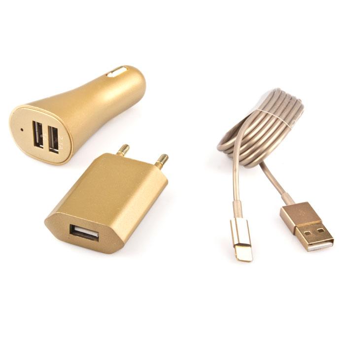 Liberty Project комплект зарядных устройств 1A для Apple 8 pin, GoldR0001026Комплект зарядных устройств Liberty Project для смартфонов и планшетов от Apple. Включает в себя автомобильное и сетевое зарядное устройство, а также кабель USB.