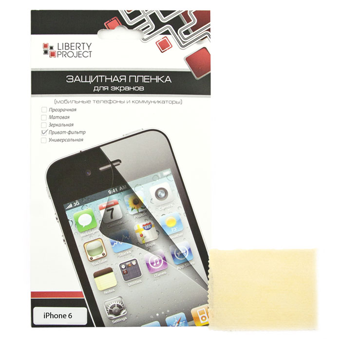 Liberty Project защитная пленка дляiPhone 6/6s, приват-фильтрR0006983Защитная пленка Liberty Project предназначена для защиты поверхности экрана, а также частей корпуса цифрового устройства от царапин, потертостей, отпечатков пальцев и прочих следов механического воздействия.
