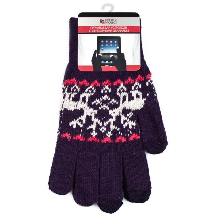 Liberty Project Олени, Purple перчатки для сенсорных экранов, размер M (1008)R0000504Перчатки Liberty Project Олени предназначены для удобства использования цифровых устройств с сенсорными экранами в сезон холодов и для работы при низких температурах. Указательный, средний и большой пальцы имеют на подушечках перчаток проводящие сенсорные нити, что позволяет пользоваться мобильным устройством, не снимая перчаток.