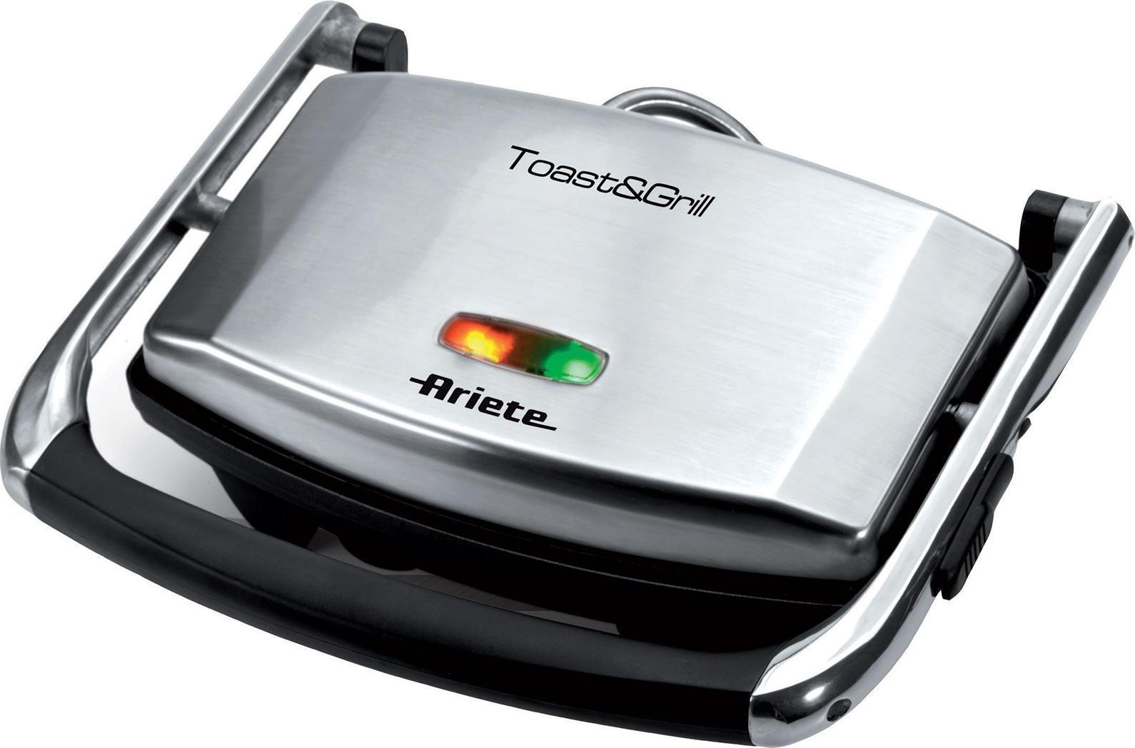 Ariete Toast & Grill Slim электрогриль1911Гриль Ariete Toast & Grill Slim – это удобный и простой в использовании прибор, с помощью которого вы сможете запекать мясо, рыбу, овощи, готовить сэндвичи и бутерброды-панини. Вы можете не использовать масло – блюда получатся сочными, но не жирными. Прибор имеет регулируемый термостат, что позволяет отлично прожаривать блюда. Световой индикатор готовности к работе подскажет вам, когда можно будет начинать приготовление. Прибор очень компактный, он поместится даже на крошечной кухне, а весит эта модель всего 2 кг – перед вами удобный и надежный помощник.Купить Ariete 1911 – получить гриль, с помощью которого вы сможете создавать настоящие кулинарные шедевры. Ребристые пластины позволяют запекать еду таким образом, что на ней остаются аппетитные небольшие полоски. Прибор имеет антипригарное покрытие, поэтому блюда всегда будут приготовлены идеально.Цена гриля Ariete вам понравится. Если хотите приобрести надежный, стильный, качественный и функциональный гриль, эта модель – то, что вам нужно. Пластины у гриля съемные, что очень важно – если вы пробовали чистить гриль, пластины которого не снимаются, оцените это преимущество. Важная деталь – отсек для хранения шнура. После завершения приготовления смотайте шнур и положите в отсек.