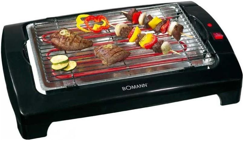 Bomann BQ 1240 N, Black гриль-барбекюBQ 1240 N schwarzБлагодаря грилю Bomann BQ 1240 N вы сможете приготовить стейки из мяса, поджарить рыбу или овощи, а так же побаловать семью вкусными горячими сэндвичами на завтрак. Рифленая поверхность гриля со специальным антипригарным покрытием обеспечивает хорошую прожарку продуктов и исключает пригорание их к поверхности гриля. Обладает съемными нагревательными элементами и решеткой для облегчения их чистки