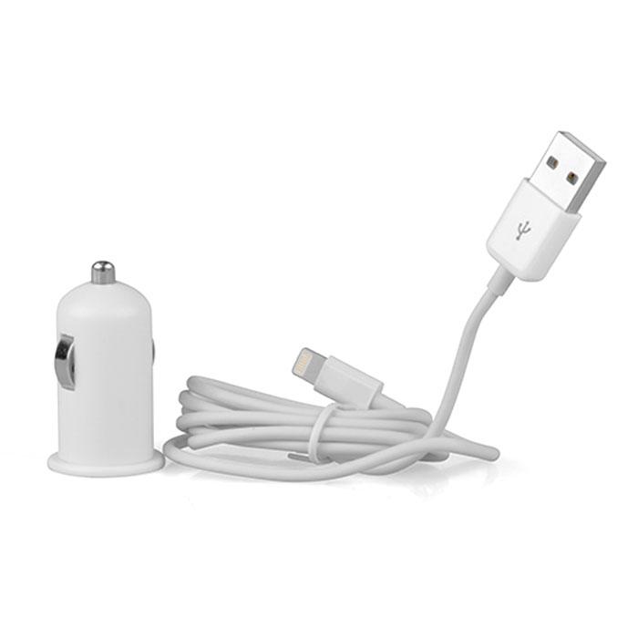 Qumo 220.36, White автомобильное зарядное устройство (20059)220.36Автомобильное зарядное устройство Qumo 220.36 для iPone/iPad/iPod. В комплект входит MFI кабель Apple 8 pin. Данная модель подключается к прикуривателю. Зарядное устройство имеет гнездо USB c силой тока 2.4 A. Подходит для автомобилей с напряжением сети 12/24В.