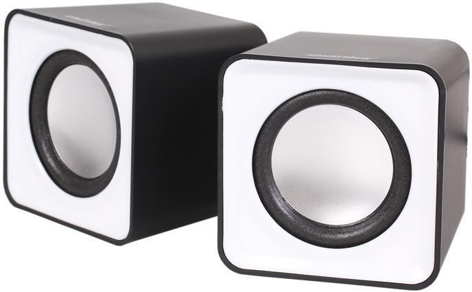SmartBuy Mini SBA-2810, акустическая системаSBA-2810SmartBuy MINI SBA-2810 - это стильная акустическая стерео система, которая идеально дополнит ваш настольный компьютер или ноутбук. Оригинальный дизайн не единственное достоинство этой модели, она обладает достаточно мощным звуком для прослушивания музыки и просмотра фильмов. Для удобства пользователей на одной из колонок расположен регулятор громкости. Благодаря компактным размерам колонки не займут много места на рабочем столе. Акустика подключается к USB-порту ПК и не требует дополнительных источников питания.