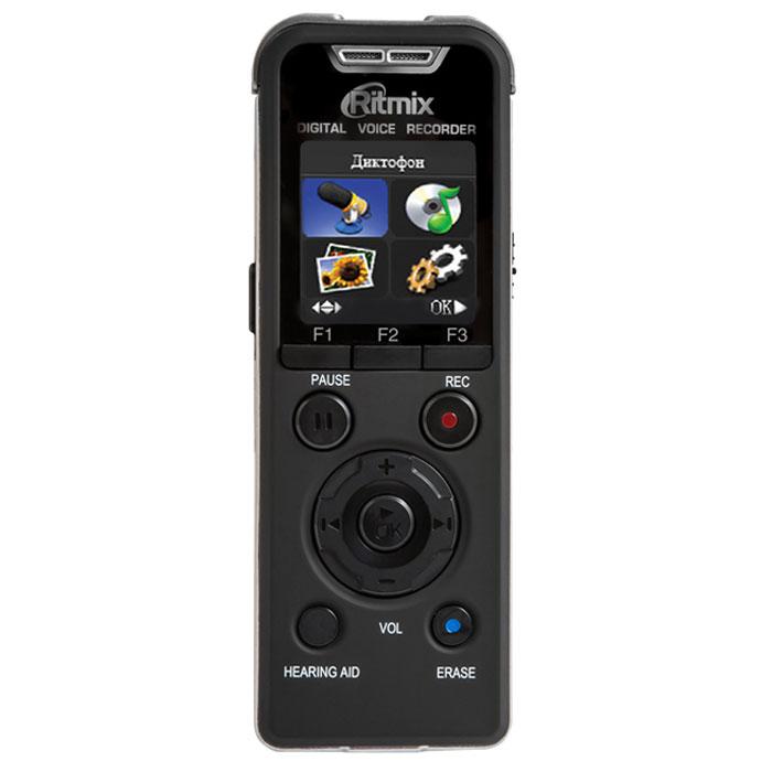 Ritmix RR-980 4Gb, Black диктофон15117594Ritmix RR-980 - цифровой диктофон с цветным дисплеем и функцией музыкального плеера. Рекордер оснащен функцией слухового аппарата, а также может быть использован как съемный диск при подключении к ПК. Данная модель имеет продвинутый набор функций и богатую комплектацию.