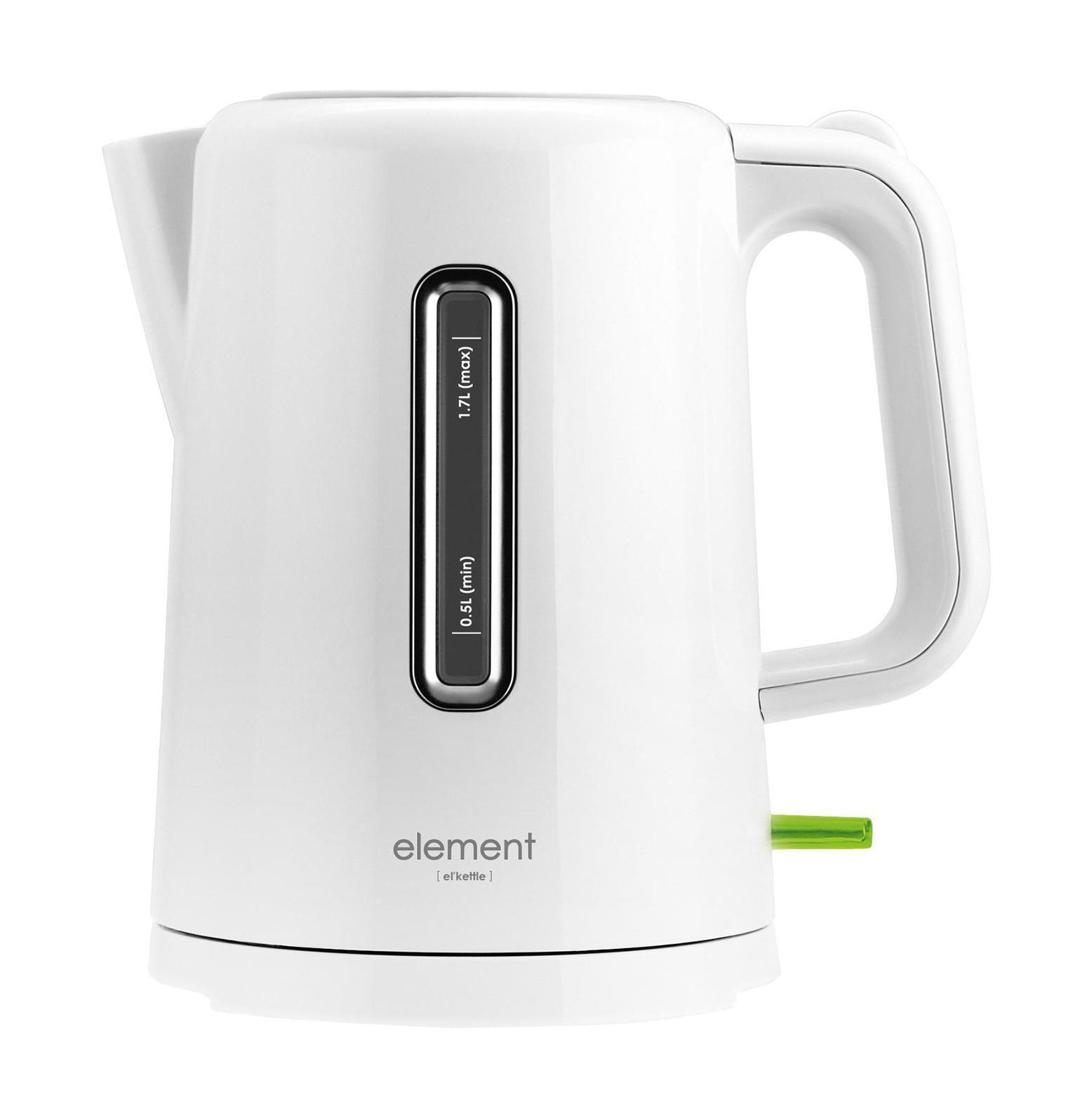Element WF01PW, White электрочайникWF01PWElement ElKettle WF01PW - это простой и удобный электрический чайник с объемом 1.7 литра. Он имеет стильный дизайн, а также корпус из металла и стекла. Мощность данной модели составляет 2200 Вт. Чайник оснащен индикацией включения и индикатором уровня воды.