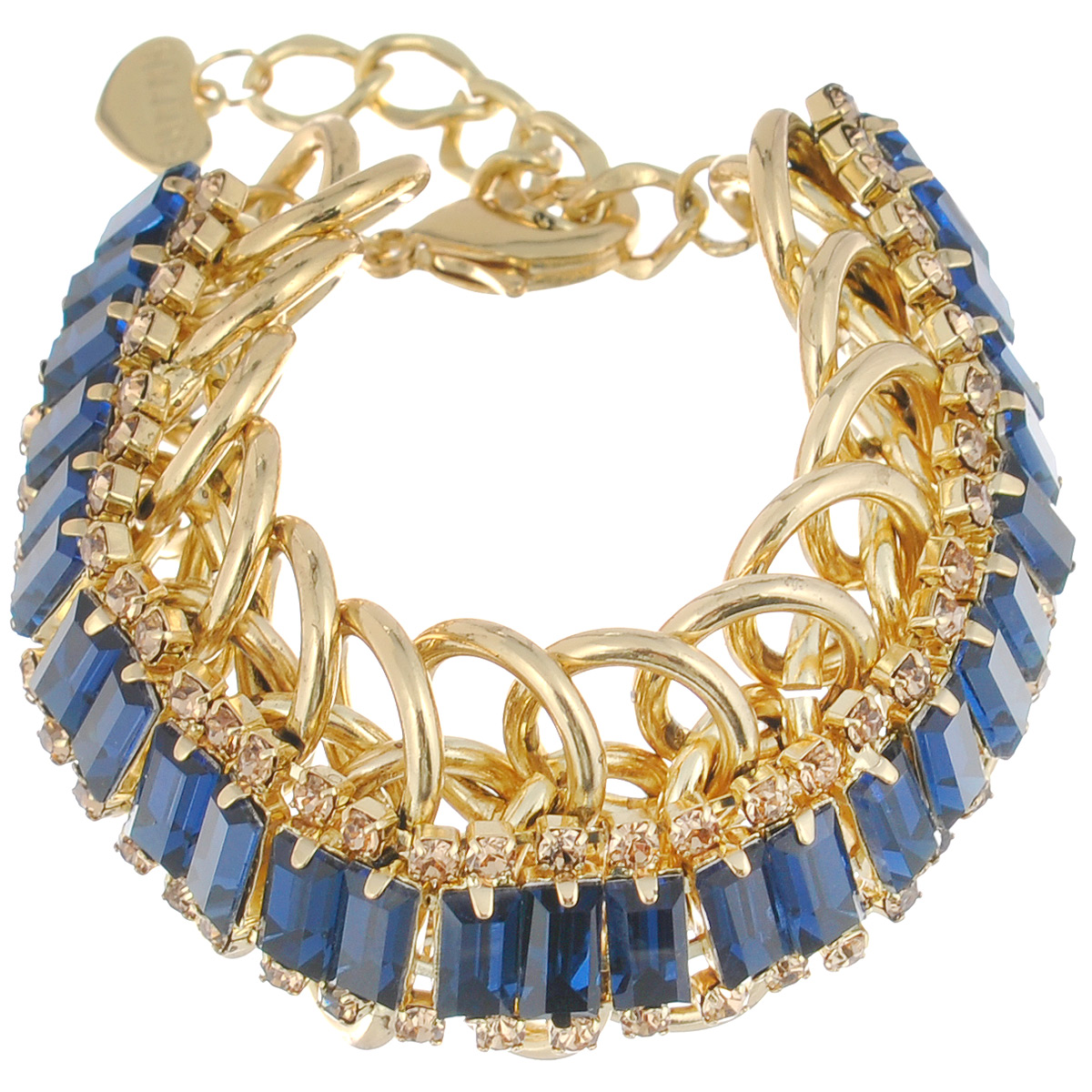 Браслет Selena Holiday, цвет: синий, золотистый. 40049330Колье (короткие одноярусные бусы)Браслет Selena Holiday выполнен из металлических звеньев с гальваническим покрытием золотом и декорирован вставками из ювелирного стекла и стразами Swarovski.Коллекция Holiday – это украшения в стиле высокой моды. Возникает ощущение, что при создании их дизайнеры черпали вдохновение из того же источника, что и такие законодатели ювелирной моды, как Shourouk и Dannij.