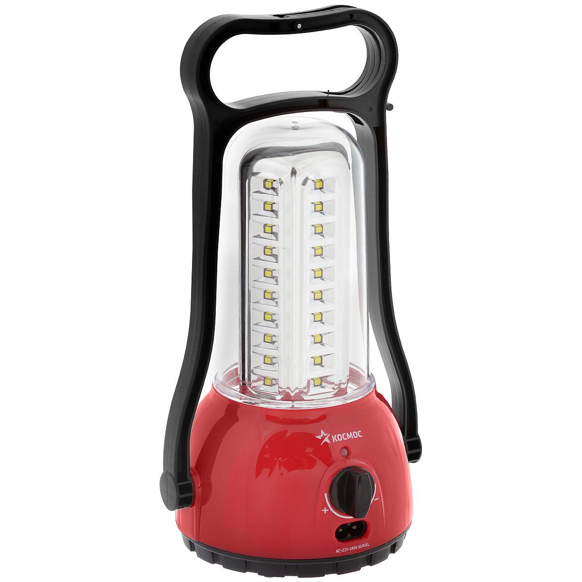 Фонарь кемпинговый Kosmos 6009LED, аккумуляторныйKOCAc6009LEDФонарь Kosmos 6009LED создан для спорта и активного отдыха. Данная модель максимально адаптирована к экстремальным условиям использования, обладает повышенной износостойкостью и подарит вам до 24 часов света в любую погоду.Особенности фонаря: светорегулятор (диммер) позволяет регулировать силу светового потока, экономить энергию аккумулятора в зависимости от уровня выбранной освещенности.Уникальная ручка-трансформер. Крючок для подвешивания.Зарядка от сети220V.Индикация процессазарядки.Источники питания:аккумулятор 4V2Ahх 2Световой поток: 400 Лм.Дальность свечения: 5 мТемпература использования: от -10 до +40°С.