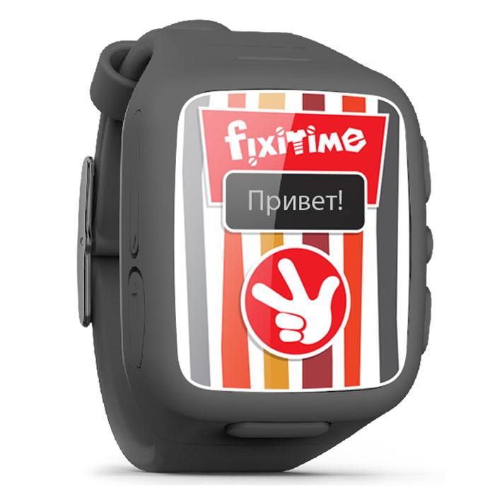 Fixitime FT-101, Black часы-телефонFT101Fixitime FT-101 - новый гаджет на радость детям и в помощь родителям. Понравится всем, кто заботится о безопасности своих детей и хочет быть ними на связи.Это отличный подарок для детей 4-12 лет - мобильный телефон в виде наручных часов, оформленный в стиле легендарного мультсериала Фиксики, со встроенным GPS/LBS трекером.Ребенок может нажатием кнопки позвонить на любой из двух номеров, устанавливаемых дистанционно из приложения. Ему также можно позвонить на часы-телефон с разрешенных номеров, устанавливаемых в приложении. Нажатие кнопки SOS уведомляет всех членов семьи, передает 15-секундную запись и переводит часы в режим автоматического ответа на входящий звонок.Вам доступно отображение точного местоположения ребенка на карте по GPS (вне зданий), приблизительного местоположения по LBS (внутри зданий), а также истории перемещений за период (с помощью приложения для iOS 7 и Android). В приложении можно отслеживать до 20 различных часов под индивидуальными именами. Местоположение ребенка могут видеть все люди, приглашенные родителями.Защита от брызг IPX5Диагональ экрана: 0,64Тип SIМ-карты: microSIMДиапазоны GSM: 900, 1800