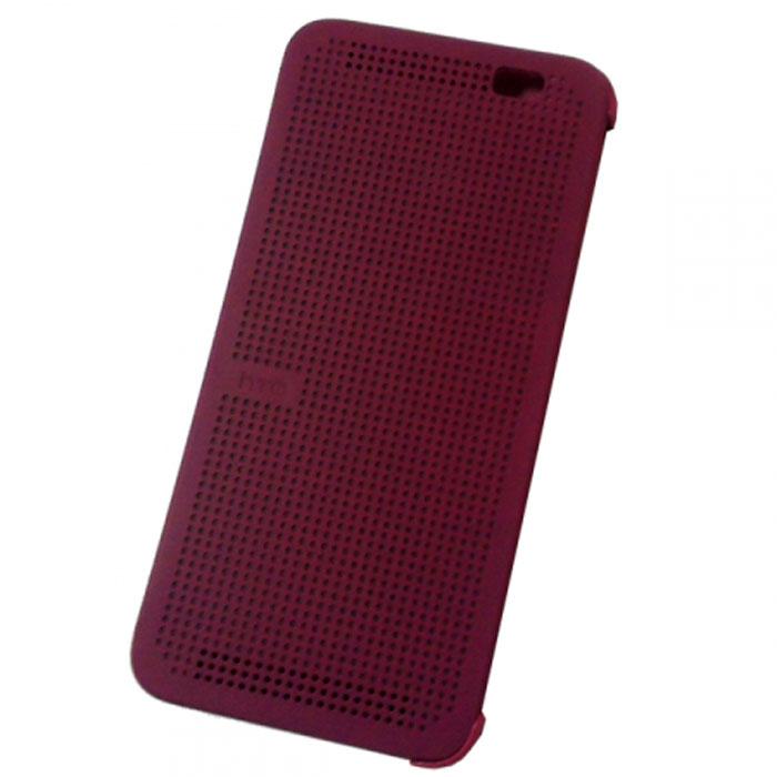 HTC HC M110 Dot Case чехол для One E8, Violet99H11642-00HTC HC M110 - фирменный чехол-раскладушка - позволяет пользователю взаимодействовать с телефоном, не открывая крышку аксессуара.Лицевая сторона чехла выполнена из перфорированного пластика, сквозь отверстия которого хорошо просматривается информация на главном экране. При надетом чехле смартфон распознает аксессуар и включает специальный режим отображения данных.Чехол позволяет принимать звонки, получать уведомления о входящих звонках и сообщениях, состоянии аккумулятора. Двойным постукиванием по поверхности HTC Dot View включается Motion Launch и позволяет включить и выключить индикацию времени и погоды. Если провести по чехлу сверху вниз, активируется голосовой поиск.
