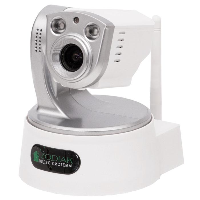 Zodiak 907 внутренняя IP-камераP2P IP-камера 907,T002598IP-камера Zodiak 907 выполнена в классическом для камер Zodiak корпусе с поворотным устройством и является удобным решением для онлайн видеонаблюдения через интернет за квартирой, домом, офисом и т.д. Данная модель выделяется наличием оптического Zoom`а (фокусное расстояние объектива 4-9 мм). Благодаря функции P2P камера не требует статического адреса и специальной настройки для удаленного просмотра, вам нужно лишь подключить ее к сети Интернет и установить на компьютер или мобильное устройство специальное приложение Zodiakvideo для Android и iOS.Мощная подсветка (2 встроенные инфракрасные лампы) позволяет снимать камере даже в темноте (20-25 метров - дальность ночного видения). Благодаря встроенному поворотному устройству Вы можете посредством одной камеры контролировать все необходимые для Вас зоны. Запись видео возможна как на локальный компьютер, так и на карту памяти. Благодаря встроенному динамику и микрофону камера позволяет общаться наблюдателю и наблюдаемому. Камера предназначена для использования в помещениях, либо на улице, но при температуре больше 0 градусов и под защитой от осадков.Углы поворота устройства: 330° (по горизонтали), 90° (по вертикали)Сетевые протоколы: HTTP, FTP, TCP/IP, UDP, SMTP, DHCP, PPPoE, DDNS, UPnP, GPRS, P2PСкорость Wi-Fi: 802.11b: 11 Мб/сек, 802.11g: 54 Мб/секПотребляемая мощность: 6 ВтБезопасность: шифрование WEP/WPA/WPA2Поддержка карт памяти объемом до 32 ГБПитание: от сети 220 В