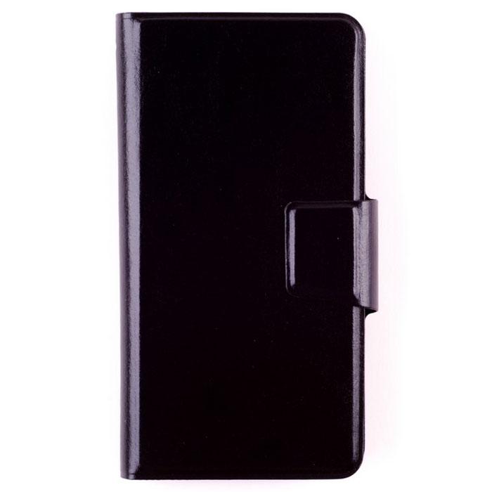 Skinbox Universal Standard универсальный чехол для смартфонов 4-4.5, Black2000000021676Универсальный чехол-книжка Skinbox Universal Standard идеально подходит для любого смартфона. Материал, из которого он сделан - прочная, практичная, устойчивая к износу экокожа. Чехол приятен на ощупь, хорошо лежит в руке, легко открывается и закрывается, когда это необходимо владельцу. Он надежно бережет смартфон от пыли, грязи, влаги, защищает его от ударов и толчков, сводит риск повреждения при падении к минимуму. Удобные кармашки на внутренней стороне лицевой панели можно использоваться для хранения пластиковых карт, визиток, денежных купюр. Когда чехол закрыт, владелец может пользоваться камерой, кнопками и разъемами.