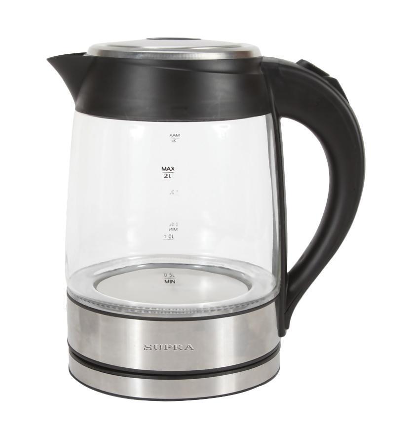 Supra KES-2005 электрический чайникKES-2005Неоновая подсветка. Корпус из термостойкого стекла. Подставка с вращением чайника на 360 гр. Автоматическое открывание крышки. Автоматическое отключение при закипании воды. Отключение при недостаточном количестве воды. Отключение при снятии чайника с базы.
