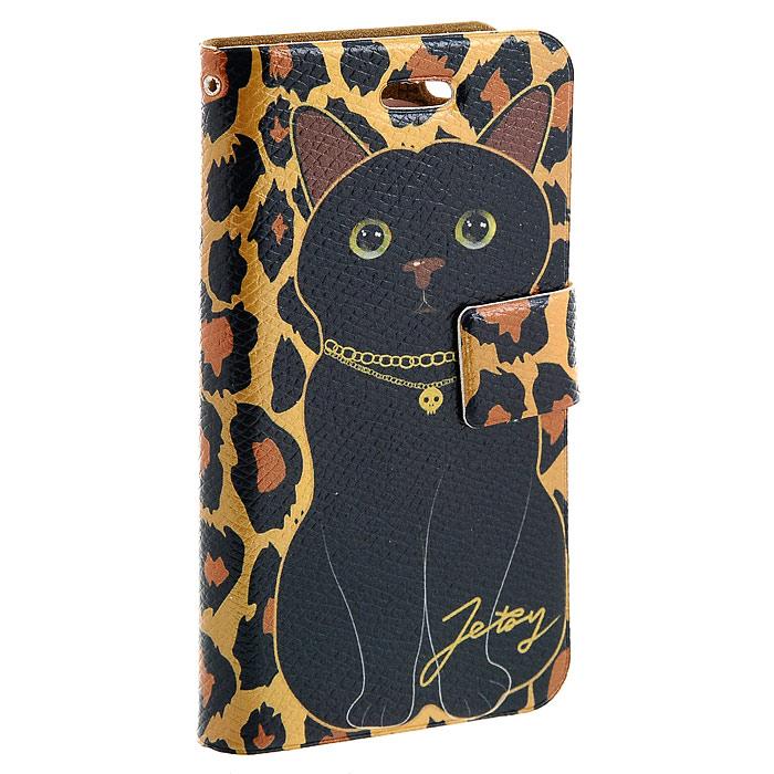 Чехол для iPhone Black catCPH-CT-28Модный и яркий чехол Black cat выполнен из натуральной кожи имитирующей шкуру леопарда с изображением черной кошечки. Чехол открывается в виде книжки и закрывается на магнитный хлястик. Он защитит ваш любимый iPhone от пыли, грязи и царапин, а также станет отличным дополнением к вашему имиджу. Такой чехол станет прекрасным подарком для любительницы оригинальных и практичных вещиц.