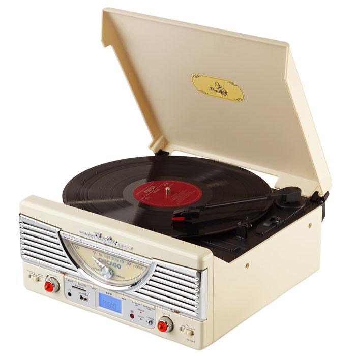 PlayBox Chicago ретро-проигрыватель, Beige (PB-103U)PB-103U-CYPlayBox Chicago - стильный и компактный проигрыватель виниловых дисков, дизайн которого напоминает проигрыватели в форме чемоданчиков 50-х годов прошлого века. Данная модель позволит вам прослушивать пластинки всех известных типов, а встроенный радиоприемник - наслаждаться любимыми радиостанциями. Интерфейс USB, а также слот для карт памяти SD/MMC предназначены для записи музыки с виниловых пластинок на внешние носители информации. Помимо всех основных разъемов, проигрыватель оснащен встроенными динамиками.