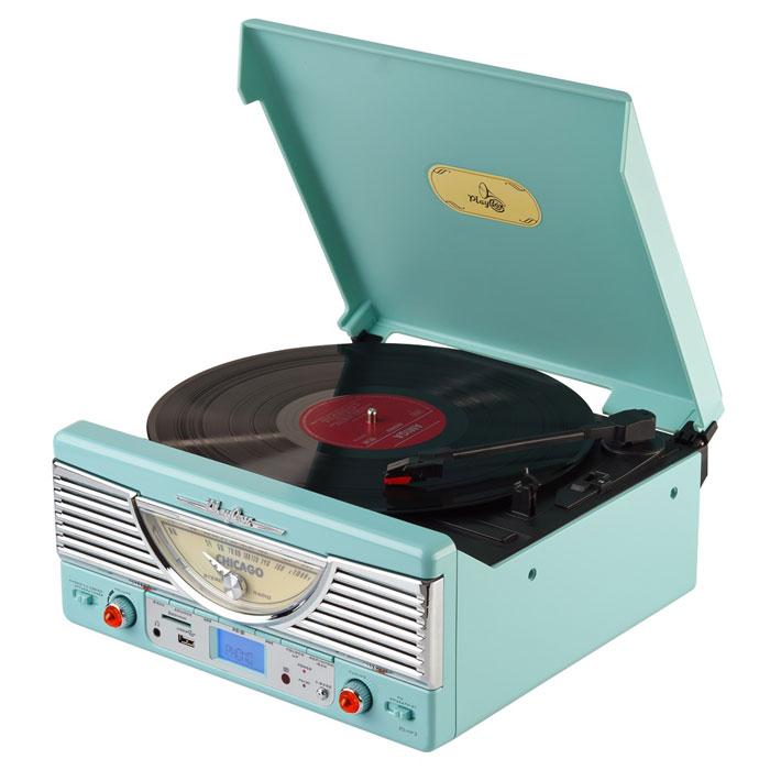 PlayBox Chicago ретро-проигрыватель, Green (PB-103U)PB-103U-CGPlayBox Chicago - стильный и компактный проигрыватель виниловых дисков, дизайн которого напоминает проигрыватели в форме чемоданчиков 50-х годов прошлого века. Данная модель позволит вам прослушивать пластинки всех известных типов, а встроенный радиоприемник - наслаждаться любимыми радиостанциями. Интерфейс USB, а также слот для карт памяти SD/MMC предназначены для записи музыки с виниловых пластинок на внешние носители информации. Помимо всех основных разъемов, проигрыватель оснащен встроенными динамиками.