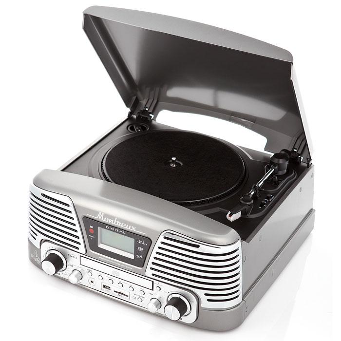 PlayBox Montreux ретро-проигрыватель, Grey (PB-106D)PB-106D-GYPlayBox Montreux (PB-106D) - стильный и компактный проигрыватель виниловых дисков с винтажным дизайном,который напоминает проигрыватели виниловых дисков, популярных в середине прошлого столетия. Данная модель может не только воспроизводить старые пластинки, рассчитанные на скорости вращения 33, 45 и 78 оборотов в минуту, но и переписывать музыку с винила на карты памяти (SD/MMC) и компакт-диски. Помимо всех основных разъемов, проигрыватель оснащен встроенными динамиками.