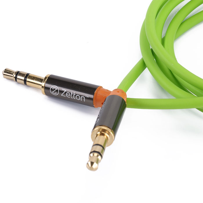 Zetton Metal, Green аудиокабель AUX (ZTLSAUX1)ZTLSAUX1BGZetton Metal - высококачественный аудио-кабель с коннекторами 3,5 мм для соединения аудиоустройств, наушников, колонок и т.д.
