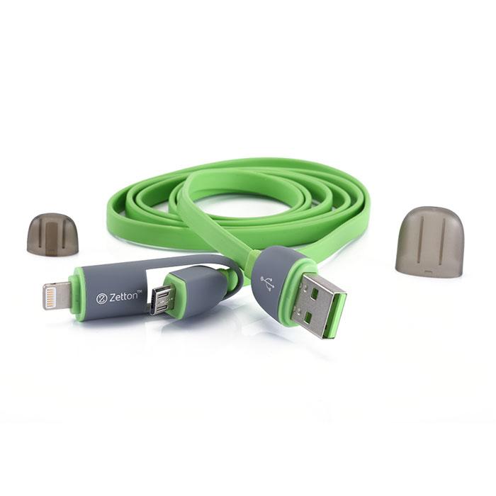 Zetton ZTLSUSB2IN1 USB кабель с разъемами Apple 8 pin/Micro-USB, GreenZTLSUSB2IN1BGZetton ZTLSUSB2IN1 - составной плоский кабель, который подходит для зарядки и передачи данных устройств с разъемами microUSB и Lightning. Снабжен защитными колпачками для удобства хранения и транспортировки.