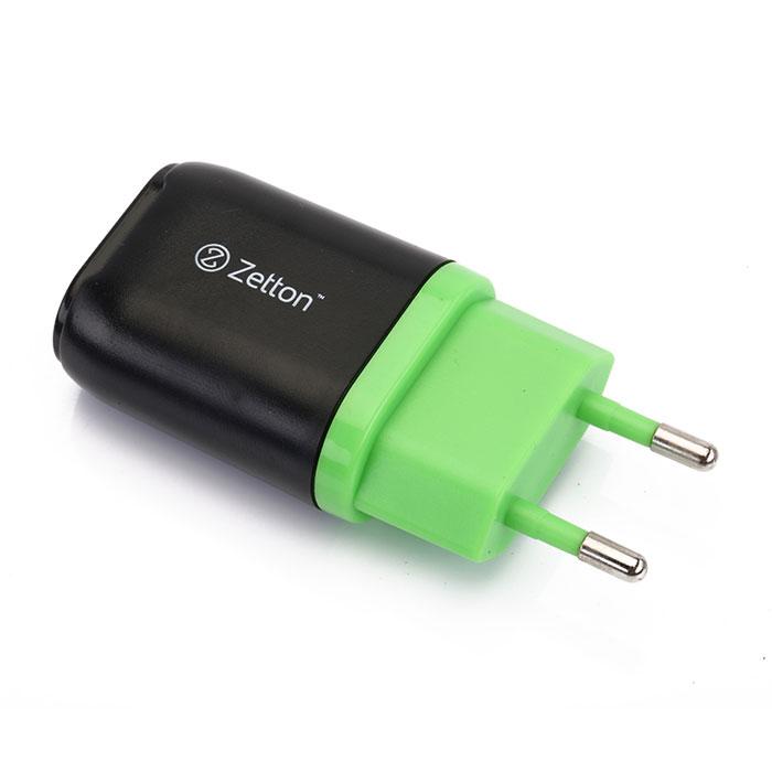 Zetton Life Style 1А сетевое зарядное устройство, Black Green (ZTLSTC1A)ZTLSTC1A1UBGСетевое зарядное устройство Zetton Life Style (ZTLSTC1A) совместимо с любым современным мобильным устройством. Работает в бытовых сетях переменного тока (100-240 В).
