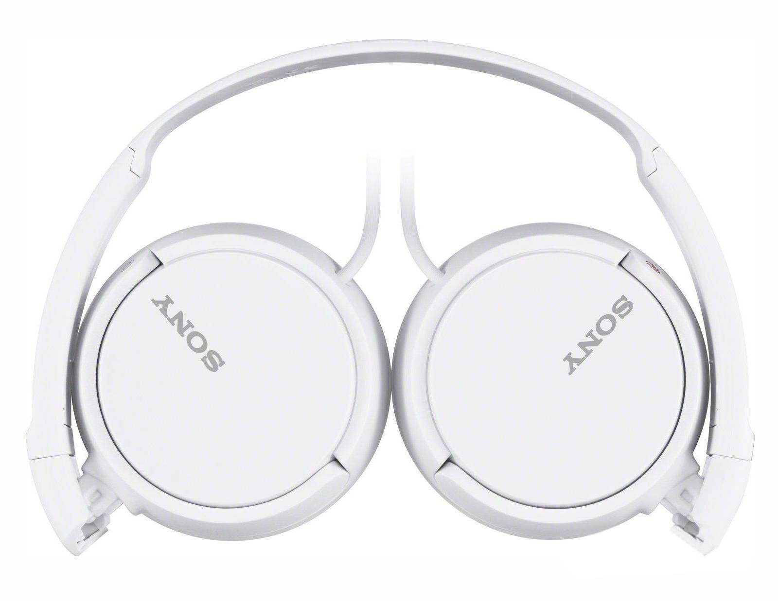 Sony MDR-ZX110, White наушникиMDRZX110W.AEНаушники закрытого типа с накладными амбушюрами, чашками с мягким уплотнителем и диапазоном воспроизводимых частот 12 Гц–22 кГц.