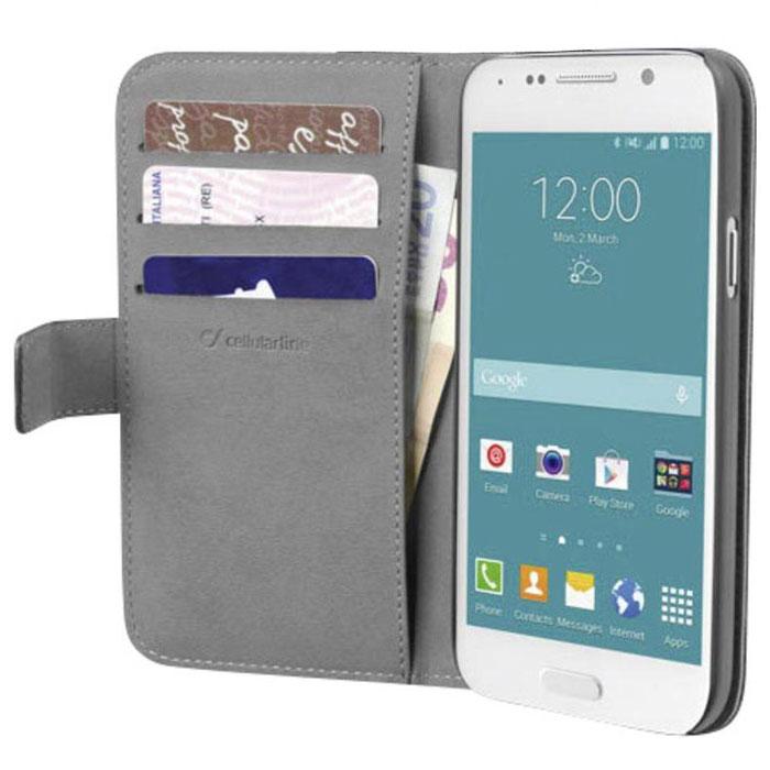 Cellular Line Book Agenda чехол для Samsung Galaxy S6, BlackBOOKAGENDAGALS6KЧехол Cellular Line Book Agenda для Samsung Galaxy S6 предназначен для защиты устройства от механических повреждений и влаги. На внутренней стороне крышки имеется 3 слота для кредитных карт и карман для купюр.