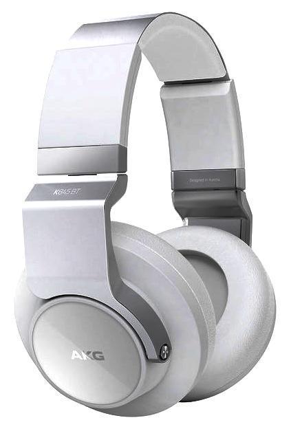 AKG K845BT, White наушникиK845BTWHTНаушники AKG K 845 BT имеют такую же конструкцию и дизайн, что и классическая Hi-Fi-модель K 545, однако оснащены приемником Bluetooth с технологией NFC.Стереотелефоны оснащены закрытыми чашками, в которых установлены динамические излучатели диаметром 50 мм. Благодаря этому AKG K 845 BT обладают расширенным басовым диапазоном и формируют широкую и насыщенную стереокартину. Широкое оголовье с удобным фиксатором-трещеткой легко настраивается на нужный размер и надежно сидит на голове. Мягкие амбушюры плотно и в то же время комфортно прижимаются к ушам. Прослушивать музыку в наушниках AKG K 845 BT можно без утомления в течение длительного времени.Наушники имеют встроенный приемник Bluetooth, и оснащены кнопками управления громкостью звука и старта/паузы воспроизведения, а также ответа на телефонный звонок. В одну из чашек наушников встроен датчик NFC, позволяющий автоматизировать спаривание наушников с совместимыми Bluetooth-устройствами. Для зарядки встроенного аккумулятора используется стандартное USB-подключение, его емкости хватает примерно на 8 часов работы при средней громкости. Весьма ценным качеством данной модели является то, что AKG K 845 BT можно использовать и как обычные проводные пассивные наушники при подключении съемного провода. Также существенным моментов является то, что наличие встроенного Bluetooth-приемника и источника питания незначительно увеличили вес стереотелефонов по сравнению с обычной моделью. Наушники выпускаются в черной или белой вариантах отделки и обладают очень высоким качеством изготовления.Стереотелефоны имеют удобную складную конструкцию, обе их чашки можно развернуть внутрь оголовья. Кроме того, подобное крепление обеспечивает более комфортную посадку наушников на голове. AKG K 845 BT обладают очень высоким качеством звука как при беспроводном, так и кабельном подключении. Широкая стереокартина в сочетании с хорошей изоляцией внешних шумов позволяют использовать как в дома, так и в дороге.