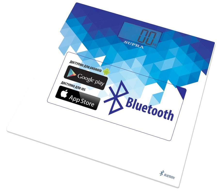 Supra BSS-6000 напольные весыBSS-6000Весы напольныеc BluetoothНовейшая система датчиков ITOТочная диагностика массы телаУдобное приложение SUPRA Fit BSS для определения результатов взвешивания и диагностики жировой массы можно скачать в App Store