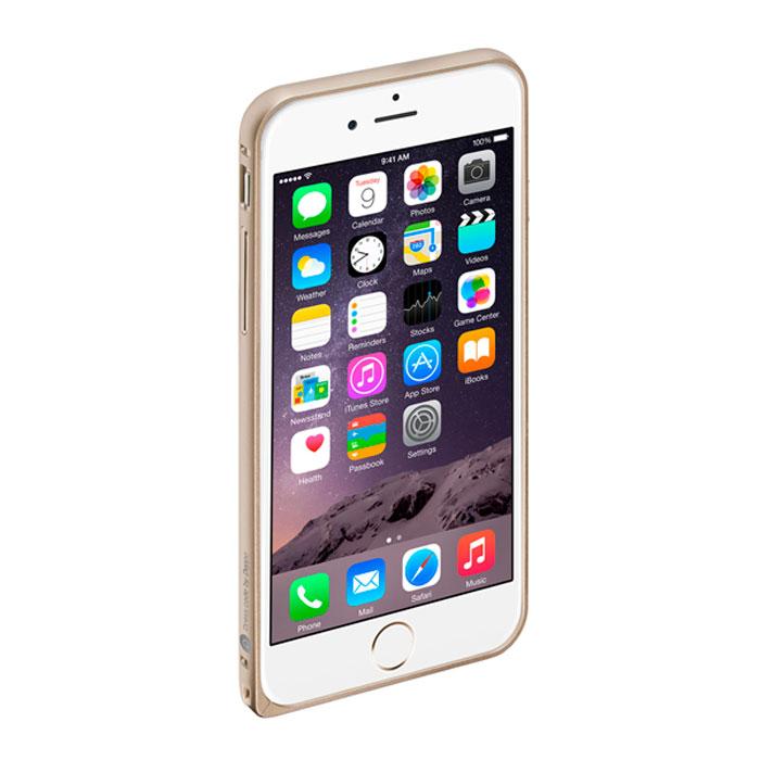 Deppa Alum Bumper чехол-бампер для iPhone 6, Gold63144Чехол-бампер Deppa Alum Bumper для iPhone 6 предназначен для защиты корпуса смартфона от механических повреждений и царапин в процессе эксплуатации. Имеется свободный доступ ко всем разъемам и кнопкам устройства.