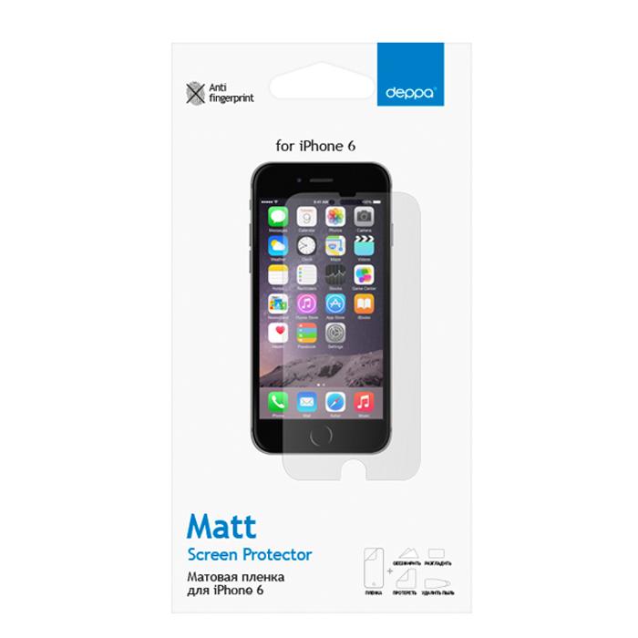 Deppa защитная пленка для Apple iPhone 6, матовая61074Матовая пленка Deppa защитит устройство от царапин. Пленка изготовлена из трехслойного японского материала PET.