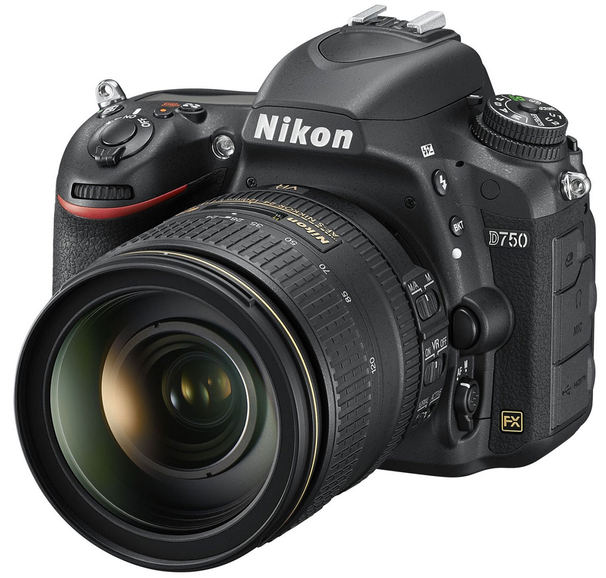 Nikon D750 Kit 24-120 VR цифровая зеркальная фотокамераVBA420K002Раскройте свое видение мира благодаря универсальной модели Nikon D750 с гибкими настройками и высокой скоростью съемки. Откройте для себя мир неограниченных возможностей: дерзайте и побеждайте с помощью полнокадровой 24,3-мегапиксельной фотокамеры.Новая конструкция матрицы формата FX обеспечивает исключительное качество изображения и как никогда четкие результаты при больших значениях чувствительности ISO. Феноменально точная автофокусировка, высокая скорость серийной съемки (6,5 кадра в секунду), возможность записи видеороликов в формате Full HD (1080/60p) и наклонный экран предоставляют фотографу полную свободу для творчества. Используйте встроенный модуль Wi-Fi и мгновенно делитесь впечатляющими снимками.Система АФ Multi-CAM 3500FX с 51-й точкой гарантирует превосходную точность на всех участках полнокадрового снимка. Система обеспечивает переключение между 9-, 21- и 51-точечным покрытием кадра и сохраняет чувствительность вплоть до -3 EV (ISO 100, 20 °C). Быстрая блокировка и расширенная функциональность «Сохранение по ориентации». Пятнадцать датчиков перекрестного типа в центре совместимы с объективами AF NIKKOR, имеющими диафрагму f/5,6 или более светосильными, а 11 центральных точек фокусировки работают с диафрагмой f/8.В режиме групповой АФ непрерывно осуществляется мониторинг пяти разных областей АФ, а также обеспечиваются быстрое наведение на объект съемки и улучшенная изоляция фона в случае съемки сравнительно небольших объектов на высококонтрастном или отвлекающем фоне. 5-точечную зону АФ можно перемещать в пределах 51?точечного массива в соответствии с компоновкой кадра.Фотокамера поддерживает разные кадровые форматы для трансляции качественного D-видео, позволяющие вести съемку видеороликов в различных условиях. Фотокамера D750 записывает видеоролики Full HD (1080p) в форматах FX и DX с частотой кадров 50p/60p; при этом уровень шума, муара и искажения цветов намного ниже. Эта модель подде