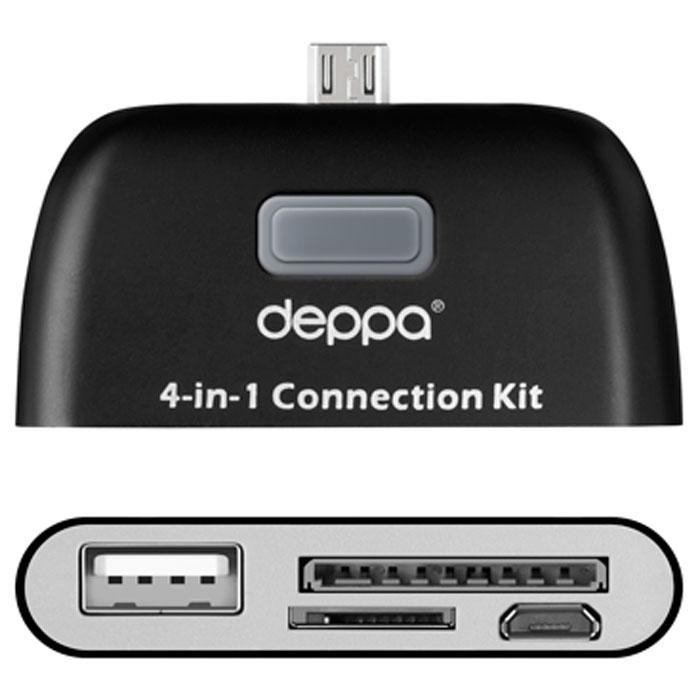 Deppa OTG Connection Kit, Black картридер для смартфонов и планшетов с microUSB11405Картридер Deppa OTG Connection Kitдля смартфонов и планшетов с microUSB предназначен для передачи данных с внешних носителей информации, подключения периферийных устройств и синхронизации с компьютером через microUSB дата-кабель. Для удобства в устройстве есть возможность для подключения карт памяти, внешних жестких дисков, цифровых фотокамер, USB клавиатуры, мыши.