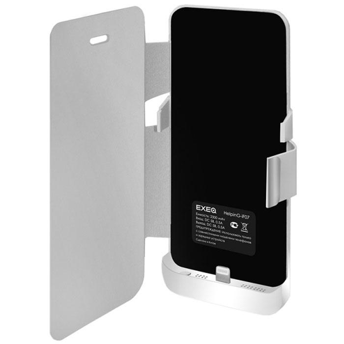 EXEQ HelpinG-iF07 чехол-аккумулятор для iPhone 5/5s, White (2300 мАч, флип-кейс)HelpinG-iF07 WHЭлегантный и лаконичный чехол-аккумулятор Exeq HelpinG-iF07 поможет не только надежно защитить ваш любимый смартфон от загрязнений и царапин, но и обеспечит своевременную подзарядку вашему гаджету. Чехол оборудован встроенной батареей, что позволит продлить часы работы смартфона в 2 раза. С чехлом Exeq HelpinG-iF07 ваш смартфон будет не только умным, но и энергичным! Лаконичный дизайн чехла не только идеально подходит под дизайн iPhone 5 и 5s, но и совсем незначительно увеличивает его габаритные размеры, а также вес. Присоединив чехол к телефону, Вы практически не будете его ощущать, но будете уверены в надежной защите смартфона и своевременной подзарядке.Зарядку телефона можно осуществлять непосредственно через чехол Exeq HelpinG-iF07, просто подсоединив зарядное устройство телефона к чехлу и нажав кнопку питания на чехле (если кнопку не нажимать, то будет происходить зарядка чехла). Аналогично происходит и подключение телефона к компьютеру – чехол-аккумулятор Exeq HelpinG обеспечивает идеальную передачу данных между смартфоном и другими электронными устройствами.