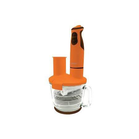 Oursson HB4040, Orange погружной блендерHB4040/ORПогружной блендер с многофункциональной стеклянной чашей HB4040 максимально оснащенный различными ножами, терками, дисками-шинковками, сэкономит драгоценное время на приготовление пищи. С помощью насадки для пюрирования легко приготовить пюре или паштет, венчиком взбить белки, крем, тесто для блинов или молочный коктейль, с помощью диска-шинковки нарезать ломтиками сыр, колбасу или овощи. Диски-терки приготовят салат или потрут овощи для супа, а нож-измельчитель превратит мясо или рыбу в фарш, измельчит лук и чеснок, орехи, крупы, кофе, специи, и даже приготовит сахарную пудру. Чаша, идущая в комплекте, выполнена из высококачественного стекла, которое не поцарапается твердыми продуктами или кусочками льда. Ее можно наполнять горячими ингредиентами и жидкостью