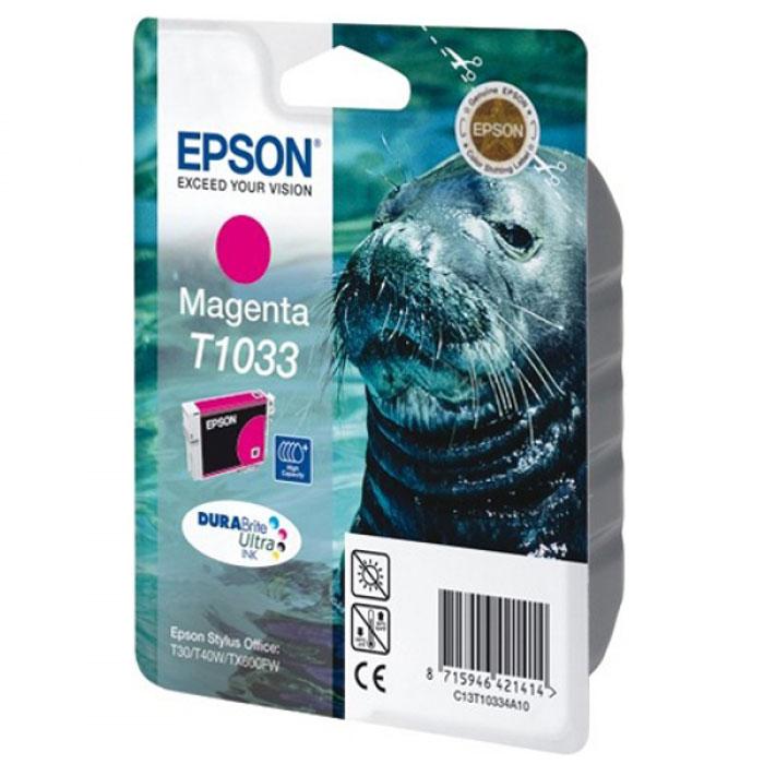 Epson T1033 (C13T10334A10), Magenta картридж для T30/T40/T1100/TX600C13T10334A10Картридж повышенной емкости Epson с цветными чернилами для струйной печати.