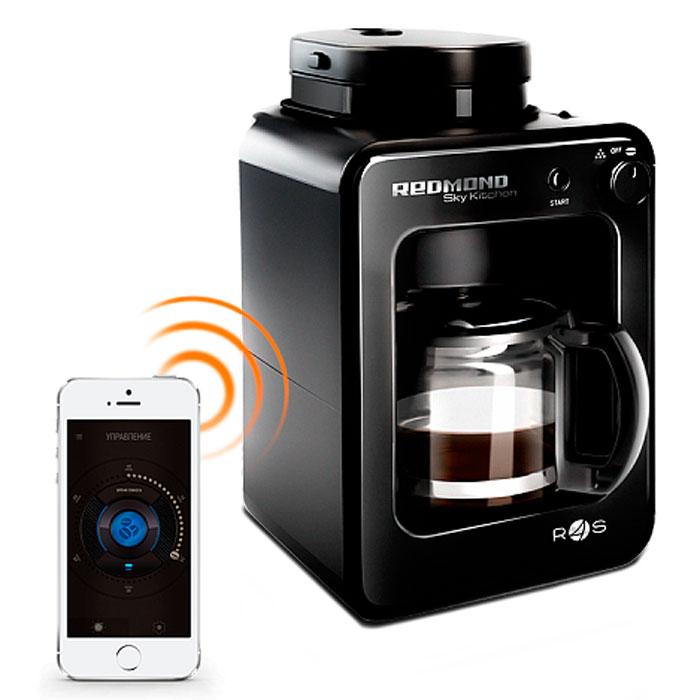 Redmond SkyCoffee RCM-M1505S-E кофеварка1505S-EСделать утро по-настоящему добрым поможет кофеварка SkyCoffee М1505S - этот универсальный прибор полностью самодостаточен - сам и кофейные зерна измельчит, и кофе сварит, и к столу позовет. Рациональное техническое решение - совмещение функционалов кофемолки и кофеварки в одном SkyCoffe - и технология управления Ready for Sky превращают М1505S в современное высокотехнологичное устройство, которое экономит ваше время.Технология управления Ready for Sky Минимальная поддерживаемая версияAndroid 4.3 Jelly BeanМинимальная поддерживаемая версия iOS 7.0Передача данных через Bluetooth v 4.0Мощность 600 Вт Кувшин из термостойкого стекла объемом 0,5 лВстроенная кофемолкаВозможность использованияцелых и молотых зерен Съемный металлический фильтрПодогрев кувшина3 степени защиты