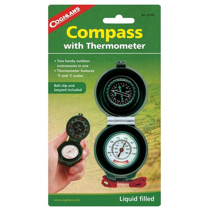 Компас с термометром COGHLANS9740Coghlans 9740 - компас с термометром. Компас заполнен жидкостью и имеет циферблат с люминофорным эффектом. Термометр снабжён двумя шкалами для определения температуры окружающей среды в градусах Цельсия и Фаренгейта. Корпус устройства изготовлен из прочного пластика, имеет клипсу для ремня и шнур. Изготовлено на специализированном предприятии.