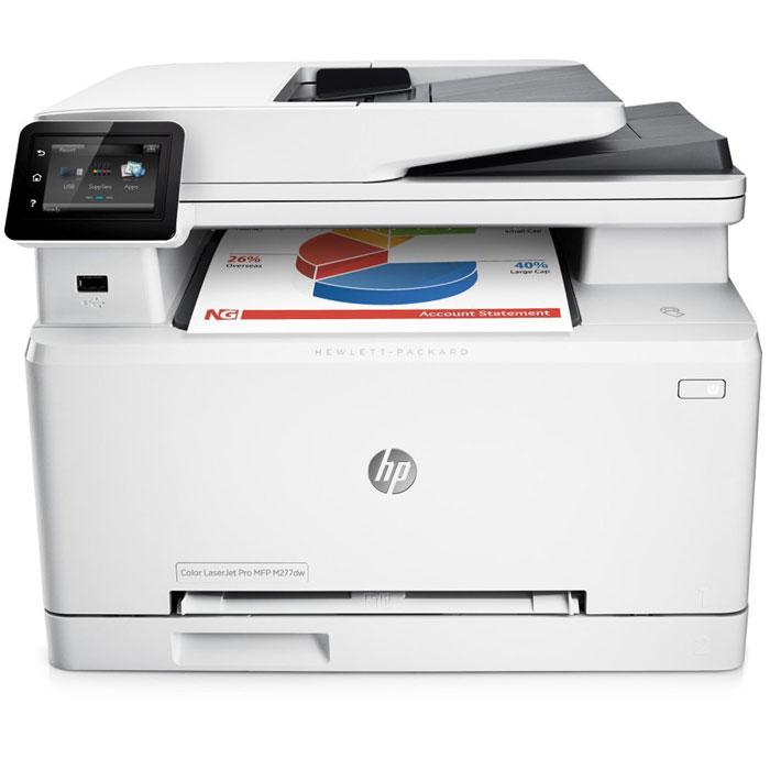 HP LaserJet Pro M277dw лазерное МФУ (B3Q11A)B3Q11AМощные возможности в компактном корпусе. МФУ HP LaserJet Pro M277dw с оригинальными лазерными картриджами HP, поддерживающими технологию JetIntelligence, представляет собой идеальное решение со всеми необходимыми функциями для эффективной работы.Невероятно высокая скорость двусторонней печати обеспечивает профессиональное качество цветных документов и позволяет выполнять рабочие задачи в кратчайшие сроки.Сенсорный экран диагональю 7,6 см позволяет быстро находить необходимые приложения и выполнять сканирование непосредственно на электронную почту, в сетевые папки и в облако.Отправляйте на печать документы Microsoft Word и PowerPoint прямо с USB-накопителя.Технология NFC позволяет одним касанием передавать на МФУ документы с мобильных устройств без подключения к сети.Для отправки заданий печати с большинства смартфонов и планшетов не потребуются специальные приложения.Оригинальные цветные лазерные картриджи HP увеличенной емкости, поддерживающие технологию JetIntelligence, обеспечивают максимальную производительность.Оригинальный тонер HP ColorSphere 3, разработанный специально для принтеров HP, гарантирует профессиональное качество и высокую скорость печати.