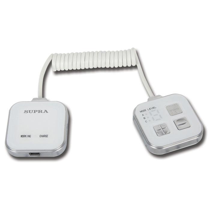 Supra Миостимулятор для похудения MBS-1126856Массажер для похудения с функцией миостимулятора Supra MBS-112 вам достичь красивой и стройной фигуры без усилий. 20 минут использования массажера заменяют 2,5 часа тренировки в спортивном зале. Тренируйся в любом месте и в любое время.Как работает массажер: В зависимости от выбранного режима автоматическая программа генерирует безопасные биологические импульсы различной частоты и интенсивности. Эти импульсы стимулируют двигательные нервы человеческого организма, которые в свою очередь заставляют мышцы производить колебательные движения за счет быстрых сокращений. Колебательные движения вынуждают мышцы потреблять энергию и сжигать жир. В результате постоянного использования массажера жировые отложения устраняются и формируется стройное подтянутое тело.Воздействие микроэлектронных волн не только позволяет убрать живот и бока, но также стимулирует работу пищеварительных органов и избавляет от проблемы запоров. Используйте массажер лежа или сидя, и вы с легкостью обретете стройное и здоровое тело. Применяйте массажер на тех областях, которыми вы особенно недовольны. Сначала кожа станет более упругой и подтянутой, затем окрепнут мышцы, улучшится кровообращение и лимфоток. В результате организм также избавится от распространенных в настоящее время болей в спине, шее и плечах.