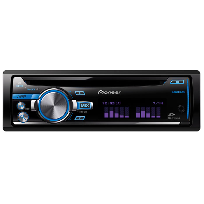 Pioneer DEH-X7650SD автомагнитола CDDEH-X7650SDCD-ресивер Pioneer DEH-X7650SD воспроизводит не только CD, но и медиафайлы с iPod, iPhone, Android-смартфонов и USB-накопителей, а также с SD карты. USB порт и дополнительный AUX-вход с подсветкой на фронтальной панели и позволяют подключать портативные устройства напрямую к аудиосистеме Pioneer.Подключив совместимый Android смартфон через USB, можно просматривать содержимое SD карты и воспроизводить любимую музыку, благодаря Android Media Access. С iPod и iPhone Direct Control, можно подключить свое iOS-устройство непосредственно к USB разъему CD-ресивера и наслаждаться прекрасным звуком.Фирменная технология MIXTRAX EZ создает из вашей медиатеки клубные миксы в режиме non-stop, а приборная панель автомобиля будет подсвечиваться различными цветовыми эффектами в зависимости от ритма и настроения каждого трека.С MOSFET 50 Вт x 4 усилителем, Pioneer DEH-X7650SD выводит мощность автомобильного аудио на приличный уровень. Если этого недостаточно, просто добавьте несколько стереококомпонентов, например дополнительные усилители для фронтальных и тыловых колонок или сабвуферы. С 3 RCA выходами предусилителя, данный CD-ресивер готов к путешествию с музыкой на все 100%.