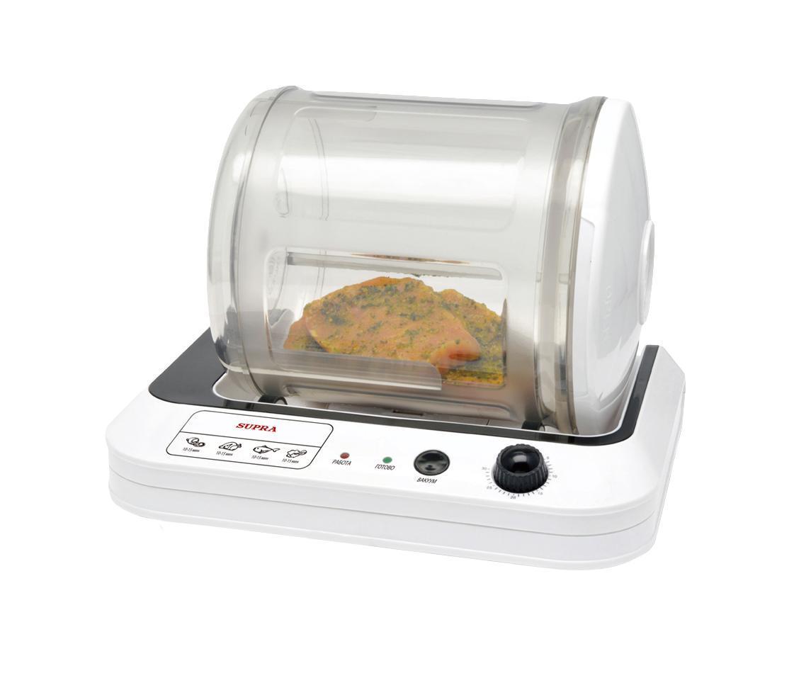 Supra MRS-101 вакуумуный маринаторMRS-101 WhiteСоздавайте кулинарные шедевры с электромаринатором Supra MRS-101! Секрет вкуснейших блюд – маринад. Мясо становится нежным и пряным, рыба – сочной, а овощные салаты – ароматными.Мечтаете о вкусном шашлыке, но нет времени его мариновать? Поместите мясо и необходимые добавки в Supra MRS-101, и через 10 минут уже можете жарить его на мангале. Вращающийся контейнер обеспечивает равномерное маринование. Поставьте таймер до 30 минут, и индикатор сообщит о готовности блюда. Электромаринатор займет немного места на кухне, но чаша объемом 6л позволит загрузить большую порцию продуктов.Съемную чашу легко мыть. Купите Supra MRS-101 – с ним любое блюдо станет неповторимым!