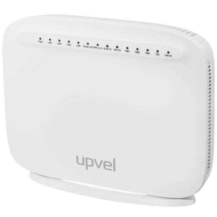UPVEL UR-835VCU маршрутизаторUR-835VCUМаршрутизатор UPVEL UR-835VCU является устройством «все в одном» и включает в себя маршрутизатор, двухдиапазонную AC1600 Wi-Fi точку доступа (802.11ac 1300 Мбит/с + 802.11n 300 Мбит/с), xDSL модем, межсетевой экран, четырехпортовый коммутатор Gigabit Ethernet и два порта USB 2.0 для подключения 3G/4G/LTE модемов, накопителей, принтеров. Вы можете объединить в домашнюю сеть ваш компьютер, ноутбук, смартфон, игровую приставку и другие устройства и обеспечить всем вашим устройствам доступ в Интернет. Роутер поддерживает все современные технологии подключения к сети Интернет: VDSL2, ADSL2+, Ethernet, 3G/LTE.С помощью UR-835VCU можно организовать общий доступ к внешним накопителям, сетевому хранилищу (NAS) и принтеру, а также подключить IP-TV приставку для просмотра цифрового телевидения.Скорость передачи данных при подключении к Интернету по технологии ADSL2/ADSL2+ Annex M составляет до 24 Мбит/с к пользователю и до 3.5 Мбит/с от пользователя, при подключении по технологии Ethernet – до 1 Гбит/с, через 3G/LTE-модем – десятки Мбит/с.В комплект поставки включен VDSL/ADSL сплиттер и утилита для быстрой настройки роутера.
