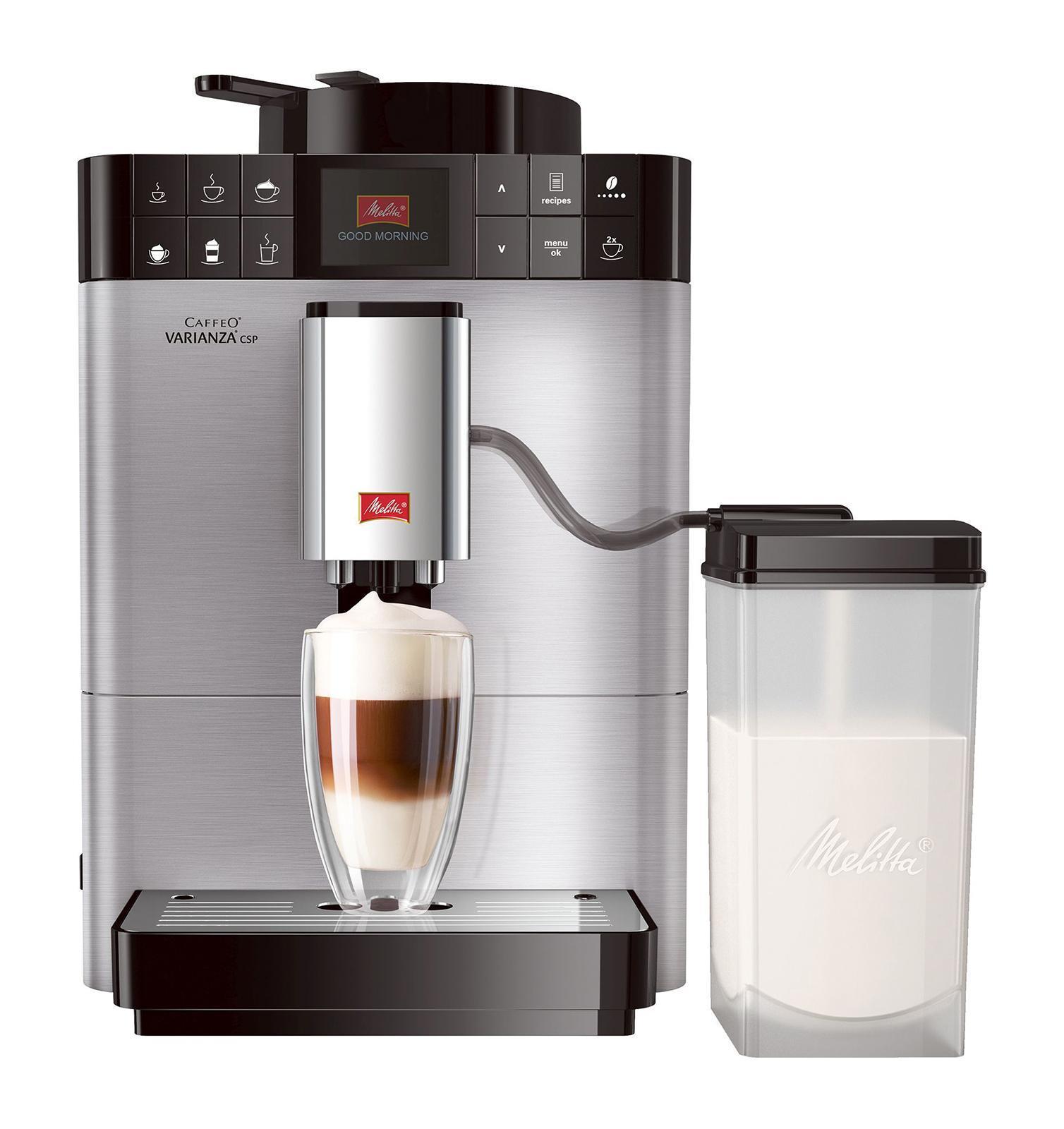 Melitta Caffeo F 570-101 Varianza CSP, Silver кофемашина6736040MISSION eco & careМы разработали лэйбл, который помогает потребителям в выборе продукции,гарантирующей ощутимоенаслаждение. В основе данного лэйбла лежит разработанная нами система ценностейMy Bean SelectMy Bean Selectот Melitta позволяет Вам свободно выбирать тип зерна из всего многообразия, доступного с каждой новой чашкой кофе. Наряду со стандартным контейнером для зерен, эта инновация даст Вам возможность попробовать различные типы зерен для каждой новой чашки. Это действительно просто с практичной мерной ложечкой, входящей в комплектСистема Best Aroma System PLUSечать Aromasafe на контейнере для зерен означает, что вкус и аромат кофейных зерен надежно сохранены. Функция Bean to Cup обеспечивает помол и варку только того количества зерен, которое Вам необходимо. Кофемолка работает до полного опустошения, тем самым предотвращая смешивание различных сортов зерен. Уникальные процессы предварительного замачивания и экстракции (A.E.S.) гарантируют превосходное раскрытие вкуса и аромата кофеКомпактная конструкция, современный дизайнКофемашина Caffeo Varianza устанавливает новые стандарты компактности. Форма куба впечатляет визуально и, кроме того, очень компактна, поэтому Вы сможете найти подходящее место для кофемашины в любом местеФункция One TouchЕсли Вы захотите приготовить одну из шести запрограммированных разновидностей кофе, теплое молоко, молочную пенку или горячую воду – сделайте это всего одним нажатием10 сортов кофеБлагодаря кнопкам управления, вы можете выбрать один из 4 классических рецептов – эспрессо, кафе крема, капучино и латте макиато нажатием одной кнопки. Используя функцию рецепта, Вы можете приготовить 6 дополнительных разновидностей кофе: ристретто, лунго, американо, эспрессо макиато, латте, кофе с молокомОригинальный процесс приготовленияприготовление кофе требует соблюдения определенной последовательности добавляемых ингредиентов. Так, например, для приготовления Latte Macchiato эсп