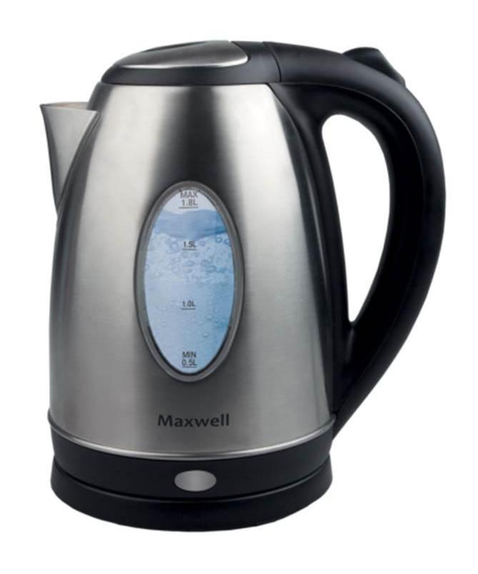 Maxwell 1073-MW(ST) электрический чайникMW-1073(ST)Безопасность, надежность, удобство и практичность – вот основные критерии, которые характерны для всех моделей чайников торговой марки Maxwell. Данная техника стала обязательным атрибутом современной кухни, позволяя быстро вскипятить воду для чашечки чая или кофе. Электрические чайники Maxwell отличаются своей эргономичностью и стильным дизайном, что позволяет их вписать в интерьер любого кухонного пространстваПользоваться электрическими чайниками Maxwell очень просто. Налив воды в емкость, вам достаточно установить чайник на специальную подставку и включить его. Спустя несколько секунд вы можете наливать чай и наслаждаться горячим напиткомВсе электрические чайники Maxwell – это надежная техника, отличающаяся высоким качеством комплектующих. В зависимости от модели, корпус чайника выполнен из термостойкого пластика и нержавеющей стали. Эти материалы не придают посторонних привкусов воде, а потому вы насладитесь ароматом и насыщенным вкусом чая. Скрытый нагревательный элемент, индикация работы, подсветка в некоторых моделях, длинный сетевой шнур и блокировка работы техники при отсутствии воды в емкости – все это является неоспоримыми преимуществами чайников данной торговой марки