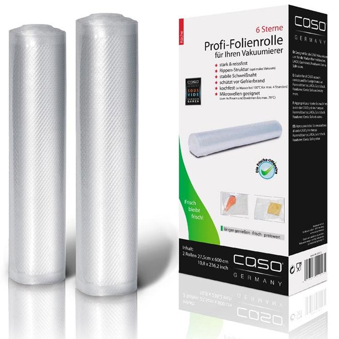 CASO VC 28х600 пленка в рулоне для вакуумного упаковщика, 2 шт.VC 28*600Рулоны для вакуумной упаковки CASO VC - это два рулона профессиональной пленки размером 27.5 x 600 см для вакуумной упаковкис ребристой внутренней поверхностью для оптимального вакуумирования. Высокая прочность пакета допускает замораживание, использование в СВЧ печи, готовку по технологии Sous-Vide.