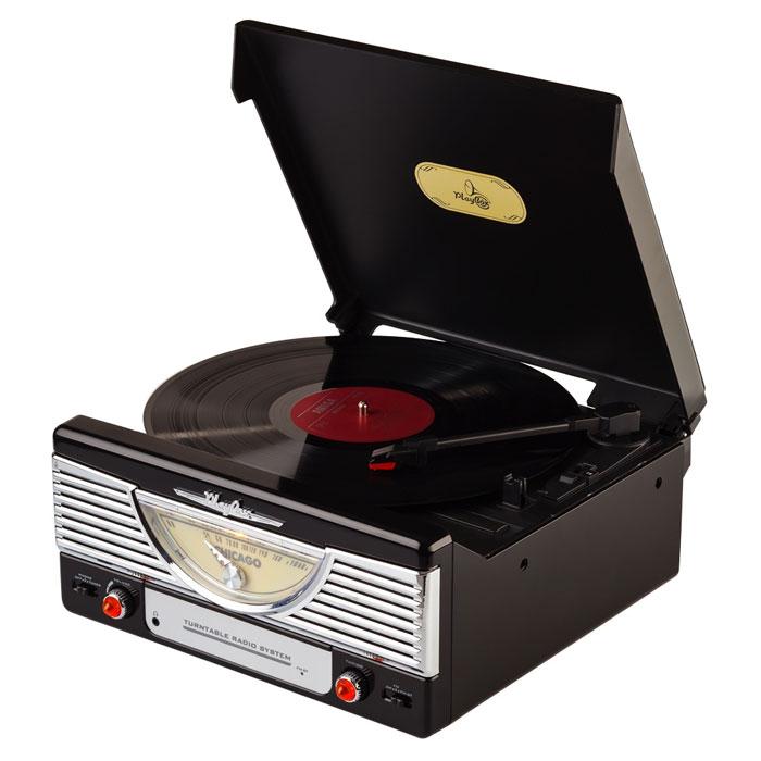 PlayBox Chicago ретро-проигрыватель, Black (PB-103)PB-103-BKPlayBox Chicago - стильный и компактный проигрыватель виниловых дисков, дизайн которого напоминает проигрыватели в форме чемоданчиков 50-х годов прошлого века. Данная модель позволит вам прослушивать пластинки всех известных типов, а встроенный радиоприемник - наслаждаться любимыми радиостанциями. Помимо всех основных разъемов, проигрыватель оснащен встроенными динамиками.