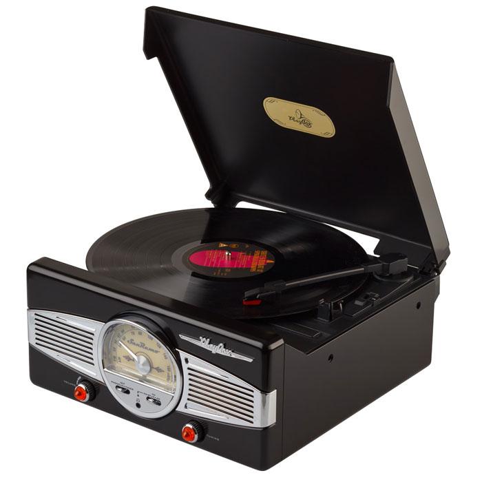 PlayBox San Remo ретро-проигрыватель, Black (PB-101)PB-101-BKPlayBox San Remo - стильный и компактный проигрыватель виниловых дисков, дизайн которого напоминает проигрыватели в форме чемоданчиков 50-х годов прошлого века. Данная модель позволит вам прослушивать пластинки всех известных типов, а встроенный радиоприемник - наслаждаться любимыми радиостанциями. Помимо всех основных разъемов, проигрыватель оснащен встроенными динамиками.