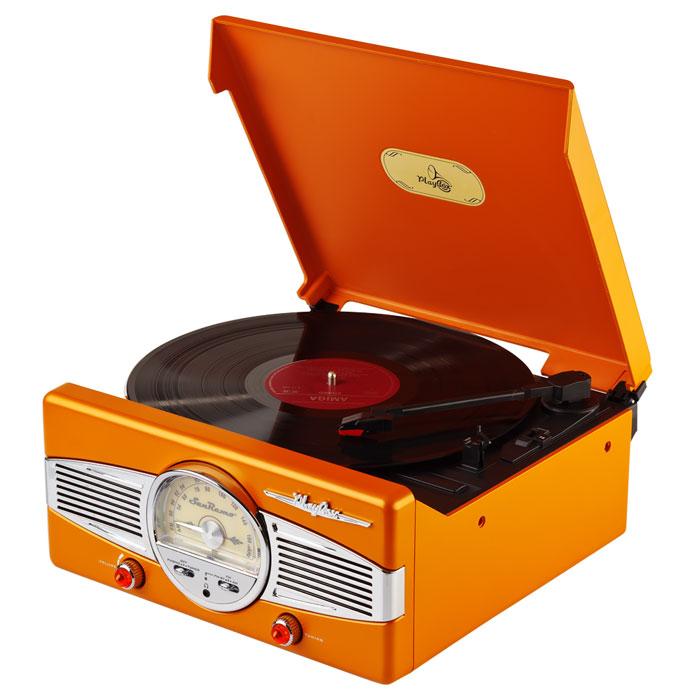 PlayBox San Remo ретро-проигрыватель, Orange (PB-101)PB-101-ORPlayBox San Remo - стильный и компактный проигрыватель виниловых дисков, дизайн которого напоминает проигрыватели в форме чемоданчиков 50-х годов прошлого века. Данная модель позволит вам прослушивать пластинки всех известных типов, а встроенный радиоприемник - наслаждаться любимыми радиостанциями. Помимо всех основных разъемов, проигрыватель оснащен встроенными динамиками.